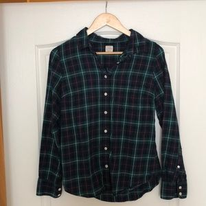 J. Crew Blue and Green Flannel S